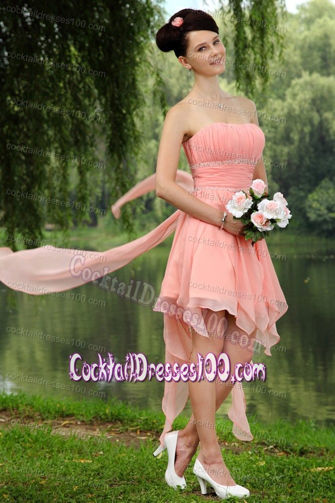 Size Peach Strapless Ruched Wedding Cocktail Party Dress