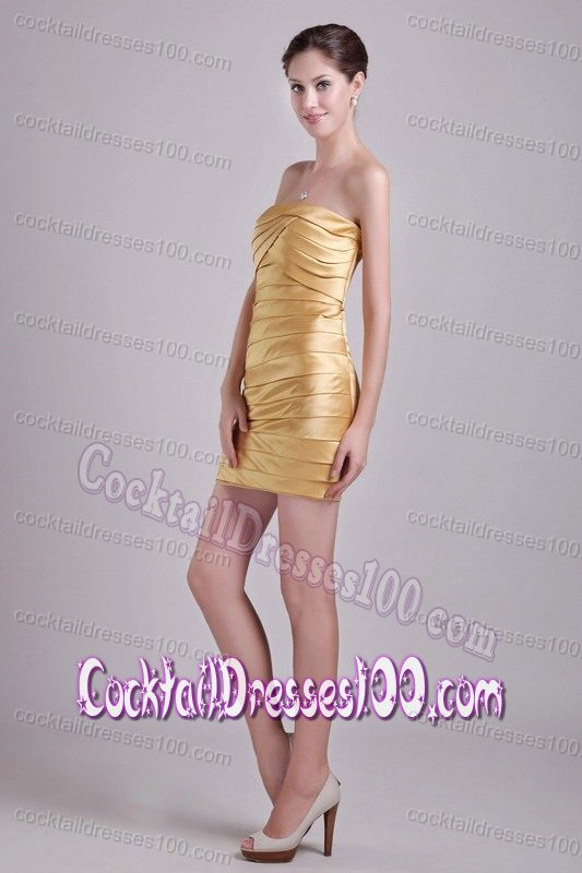 Sexy Strapless Ruched Mini-length Gold Evening Cocktail Dress