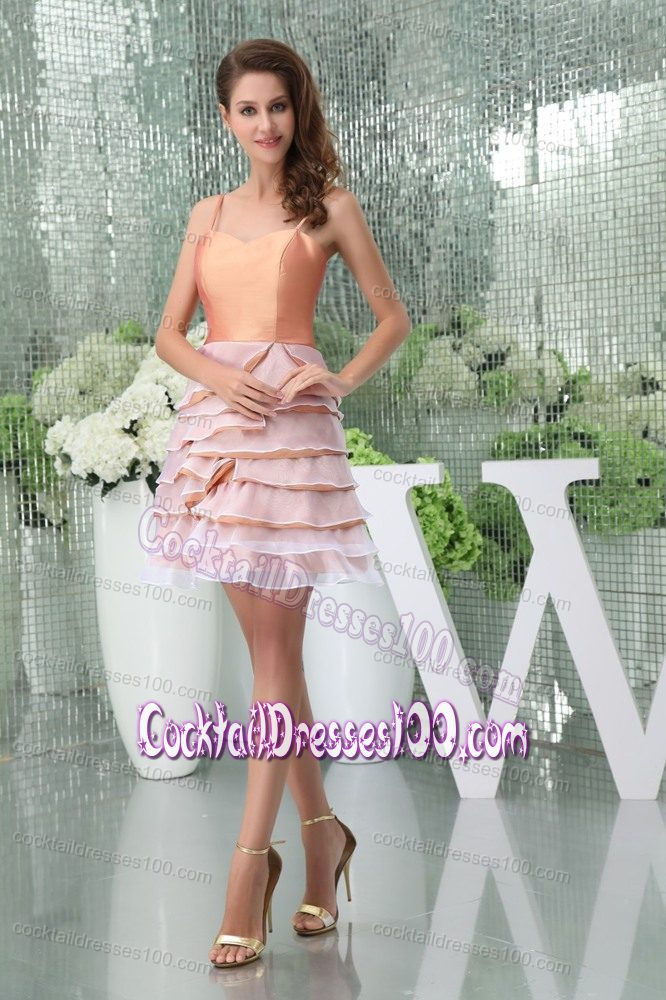 Ruffle-layers Spaghetti Straps Short Peach Colored Cocktail Dress