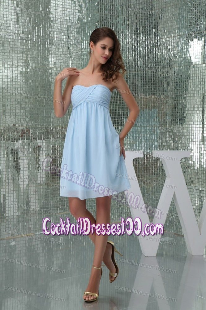 sweetheart kneelength ruched baby blue prom cocktail dress