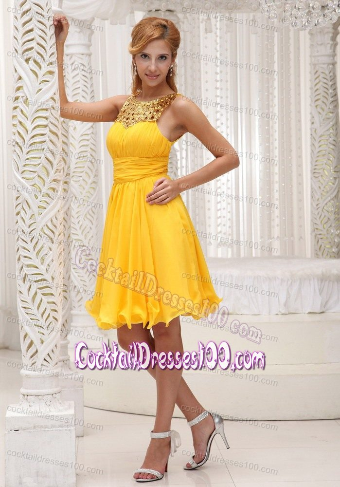 Sequin Ruching Yellow Tail Reception Dresses