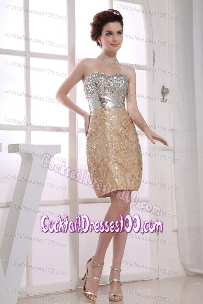 Flirty Rhinestones Paillette Decorate Silver and Gold Cocktail Dress