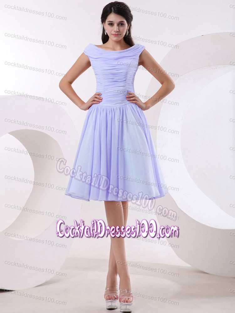 Popular Bateau Ruched Bodice Lavender Cocktail Dress For Prom