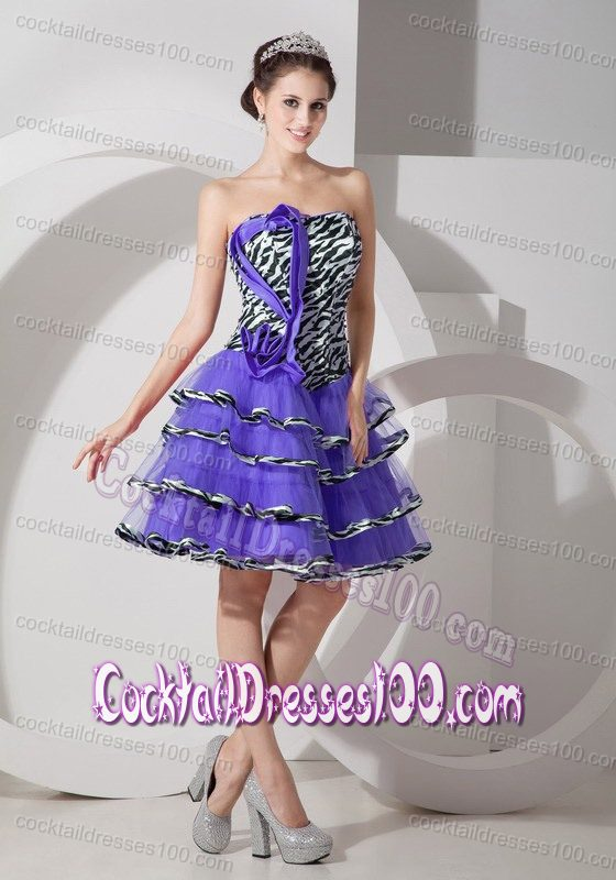 and Purple Cocktail Dress For Prom with Layered Skirt