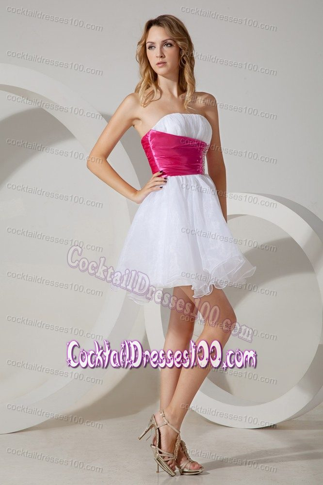 White A-line Strapless Cocktail Dress with Beaded Decorate Sash