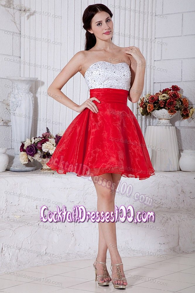 Red and White Strapless Short Puffy Prom Cocktail Dresses