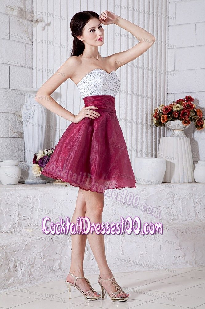 Burgundy Sweetheart Mini-length White Cocktail Dress with Beading