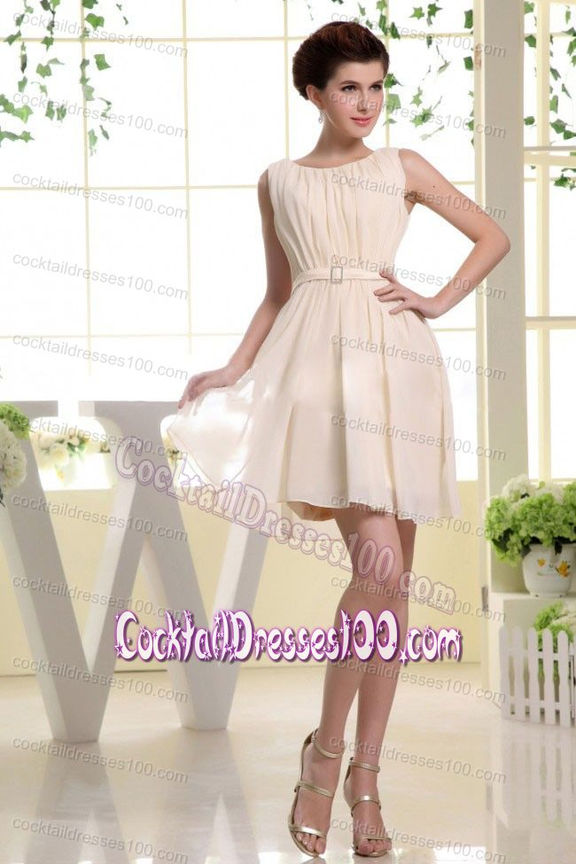 Bateau Neckline Champagne Wedding Cocktail Dress with Belt