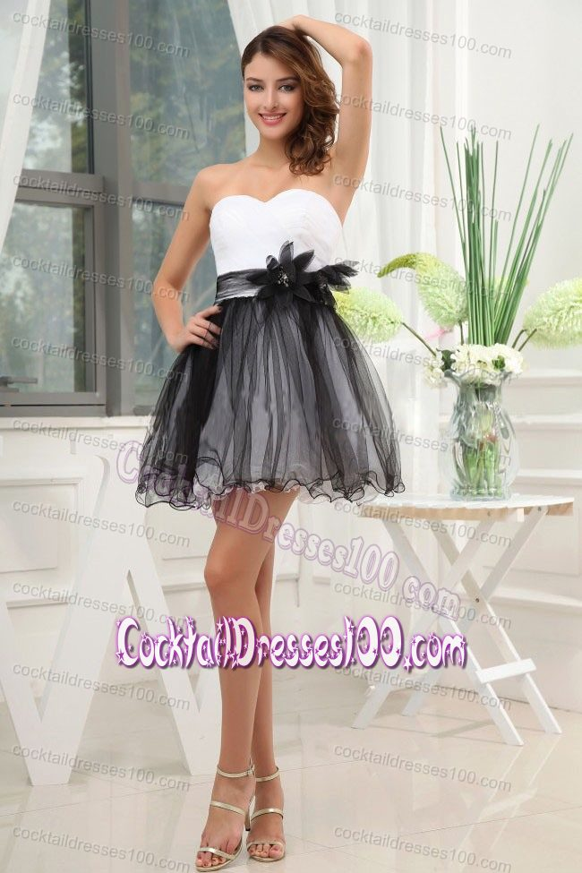 Mini-length Cocktail Dress with Feather in Black and White