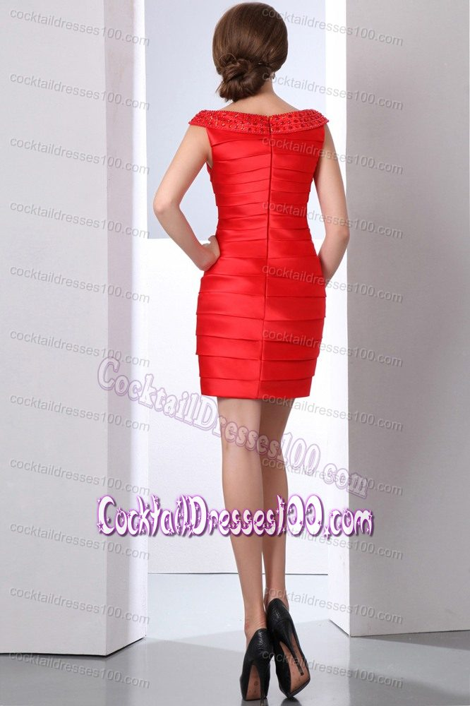 Taffeta Bateau Mini-length Beading Cocktail Dresses in Red