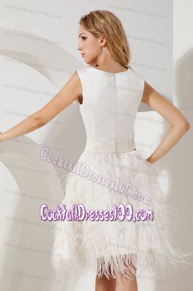 Feather Scoop White A-line Beaded Cocktail Dress Mini-length