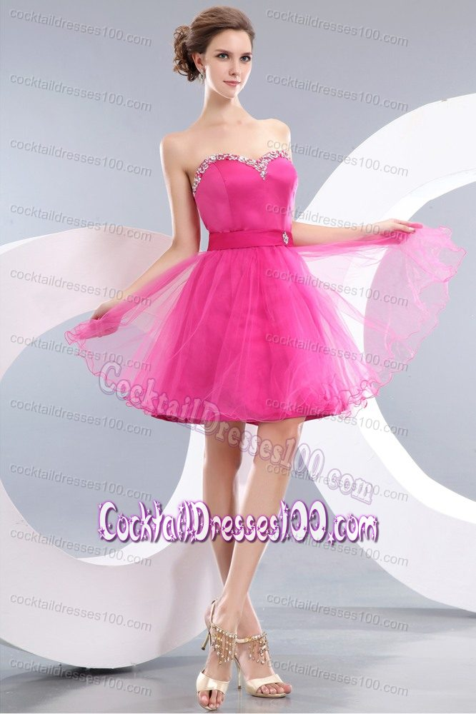 Hot Pink A-line Beaded Cocktail Dress Mini-length