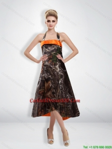Romantic 2015 Empire Halter Camo Cocktail Dress with Tea Length