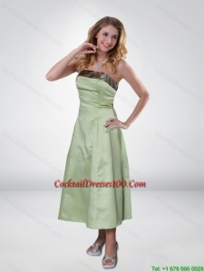 Apple Green Strapless Ankle Length Camo Cocktail Dresses