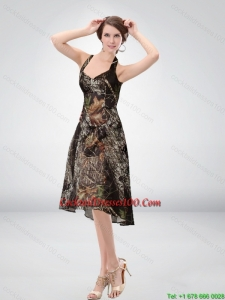 Exclusive Halter Top Tea Length Camo Cocktail Dresses in Multi Color