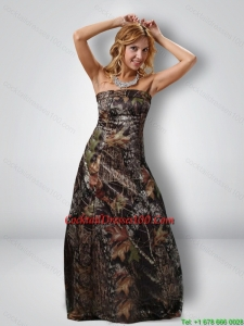 Fashionable 2015 Column Strapless Camo Cocktail Dresses in Multi Color