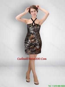 Multi Color Short Halter Wonderful Camo Cocktail Dresses for Cocktail