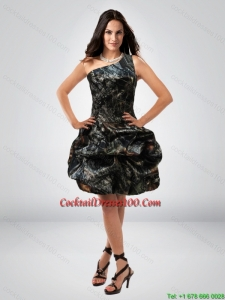 New Arrival Ball Gown One Shoulder Camo Cocktail Dresses with Belt