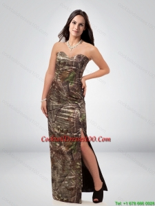 New Arrival Column Sweetheart Camo Cocktail Dress with High Slit