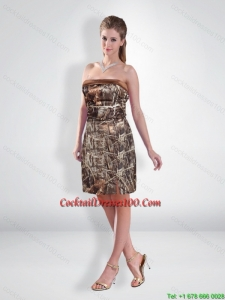 Perfect Short Strapless Camo Cocktail Dresses with Ruching