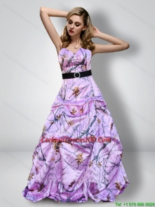 Romantic Sweetheart Camo Cocktail Dresses with Sash for 2015