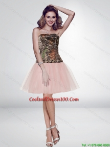 Unique Multi Color Short Strapless Pink Camo Cocktail Dresses