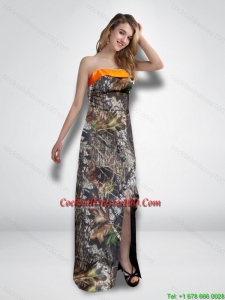 2015 New Arrival Empire Strapless Garden Camo Cocktail Dresses with High Slit