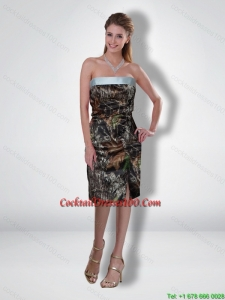 New Arrival 2015 Column Strapless Tea Length Camo Cocktail Dresses