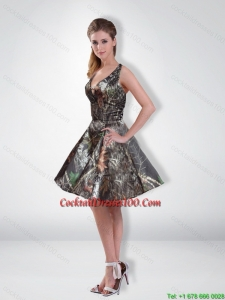 New Arrival A Line V Neck Beading Camo Cocktail Dresses with Knee Length