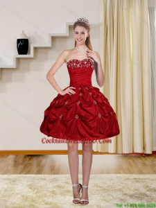 2015 Ball Gown Red Strapless Cocktail Dresses with Embroidery