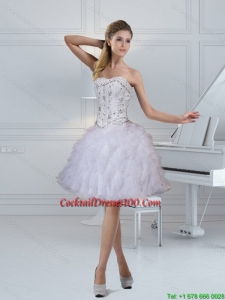 2015 Elegant Strapless White Beautiful Cocktail Dresses with Ruffles and Beading