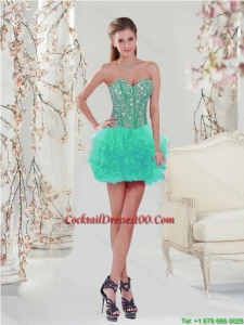2015 Exquisite Apple Green Cocktail Dress with Beading and Ruffles