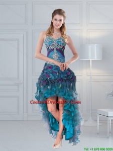 2015 Pretty Straps Multi Color Cocktail Dresses with Embroidery and Hand Made Flower