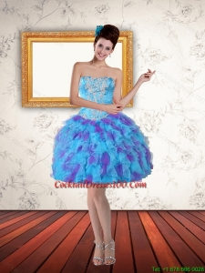 2015 Sweetheart Beading Ruffled Layers Short Cocktail Dress in Multi Color