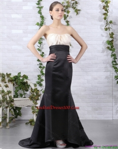 Brush Train Ruching 2015 Beautiful Cocktail Dresses in White and Black