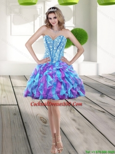 Elegant 2015 Beading and Ruffles A Line Beautiful Cocktail Dress in Multi Color