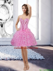 Inexpensive Rose Pink Sweetheart 2015 Cocktail Dress with Beading and Ruffles