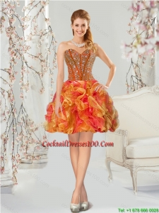 Luxurious Beading and Ruffles Multi-color Cocktail Dresses for 2015