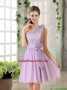 One Shoulder Lilac Cocktail Dresses with Bowknot for 2015