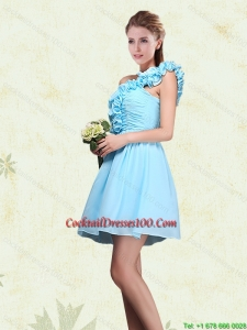Ruching and Ruffles One Shoulder Chiffon Beautiful Cocktail Dresses