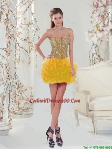 Unique Beading and Ruffles Beautiful Cocktail Gown Dresses in Yellow