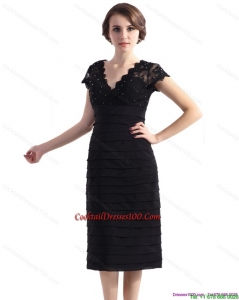 2015 Cap Sleeves Black Cocktail Dress with Beading and Ruching