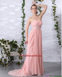 2015 Summer Cheap Brush Train Sweetheart Beautiful Cocktail Dress in Peach