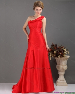 2015 Summer One Shoulder Pleated Red Cocktail Dresses with Brush Train
