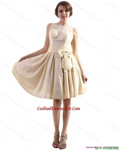 Elegant High Neck Beautiful Cocktail Dresses with Ruching and Bownot