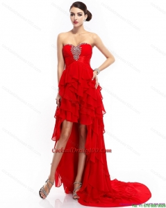 High Low Ruffled Layers Beading Red Summer Cocktail Dresses for 2015