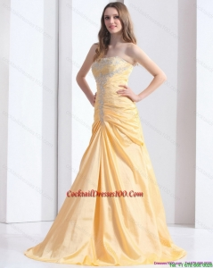 2015 Summer Brush Train Gold Cocktail Dresses with Ruching and Beading