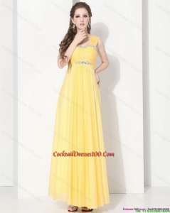 2015 Summer Floor Length Cocktail Dresses with Ruching and Beading