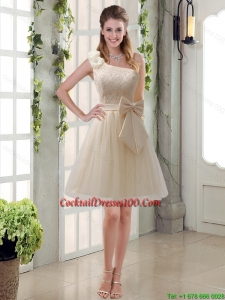 2015 Princess One Shoulder Bowknot Lace Charming Cocktail Dresses in Champagne