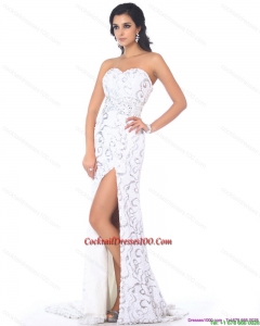 2015 Sexy Sweetheart Sequins White Beautiful Cocktail Dress with High Slit